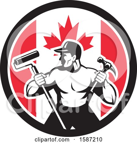 Clipart of a Retro Strong Male Painter or Handy Man in a Canadian Flag Circle - Royalty Free Vector Illustration by patrimonio