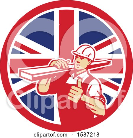 Clipart of a Retro Male Carpenter Holding a Thumb up and Carrying Lumber in a Union Jack Flag Circle - Royalty Free Vector Illustration by patrimonio