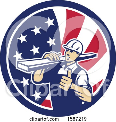 Clipart of a Retro Male Carpenter Holding a Thumb up and Carrying Lumber in an American Flag Circle - Royalty Free Vector Illustration by patrimonio