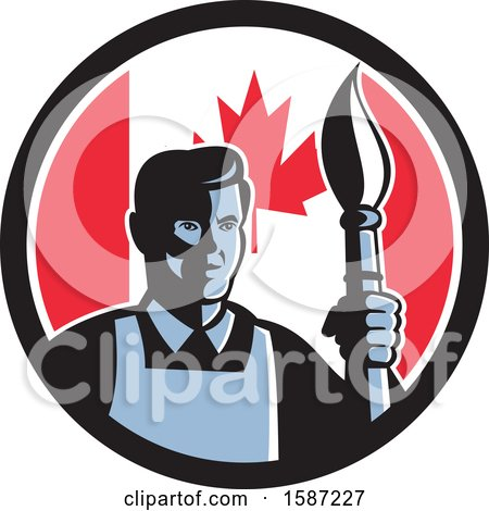 Clipart of a Retro Male Artist with a Paintbrush in a Canadian Flag Circle - Royalty Free Vector Illustration by patrimonio