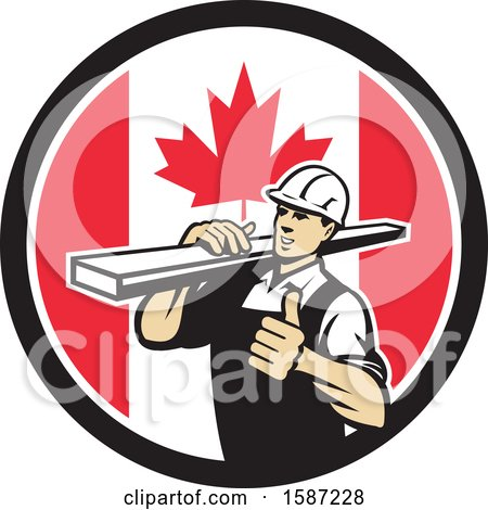 Clipart of a Retro Male Carpenter Holding a Thumb up and Carrying Lumber in a Canadian Flag Circle - Royalty Free Vector Illustration by patrimonio