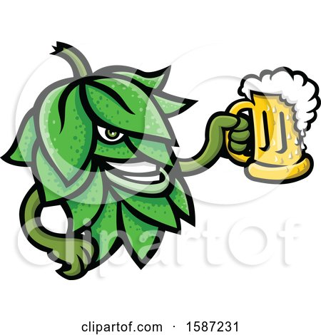 Clipart of a Beer Hop Mascot Holding a Beer Mug - Royalty Free Vector Illustration by patrimonio
