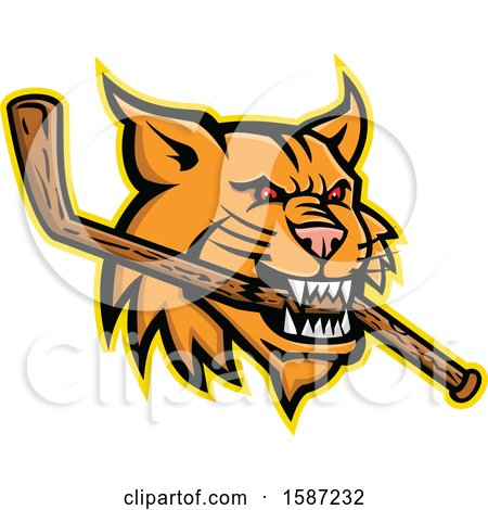 Clipart of a Red Eyed Bobcat Mascot Head Biting a Wooden Hockey Stick - Royalty Free Vector Illustration by patrimonio