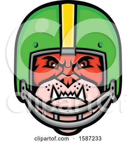 Clipart of a Tough Bulldog Mascot Head in a Football Helmet - Royalty Free Vector Illustration by patrimonio