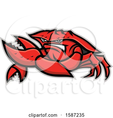 Clipart of a Tough King Crab Mascot - Royalty Free Vector Illustration by patrimonio