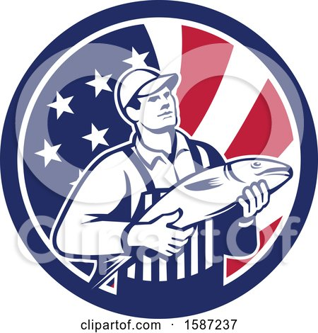 Clipart of a Retro Fishmonger in an American Flag Circle - Royalty Free Vector Illustration by patrimonio