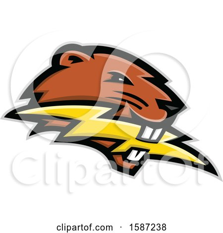 Clipart of a Beaver Mascot Head Biting a Lightning Bolt - Royalty Free Vector Illustration by patrimonio