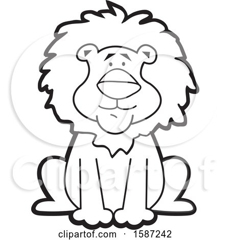 Clipart of a Lineart Sitting Male Lion Mascot - Royalty Free Vector Illustration by Johnny Sajem