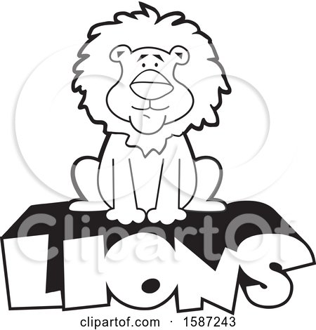 Clipart of a Black and White Sitting Male Lion Mascot on Text - Royalty Free Vector Illustration by Johnny Sajem