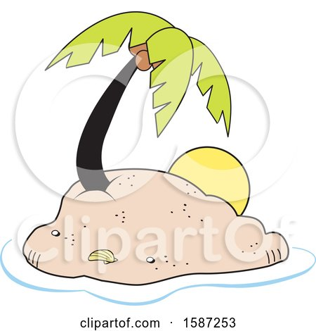 Clipart of a Coconut Palm Tree on a Tropical Island - Royalty Free Vector Illustration by Johnny Sajem