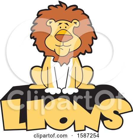 Clipart of a Sitting Male Lion Mascot on Text - Royalty Free Vector Illustration by Johnny Sajem