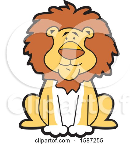 Clipart of a Sitting Male Lion Mascot - Royalty Free Vector Illustration by Johnny Sajem