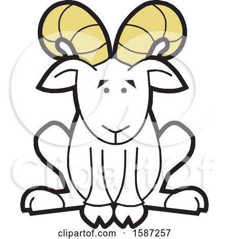 Clipart of a Sitting Ram Mascot - Royalty Free Vector Illustration by Johnny Sajem