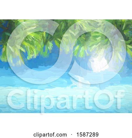 Clipart of a Painted Background of the Ocean and Palm Tree Branches - Royalty Free Vector Illustration by KJ Pargeter
