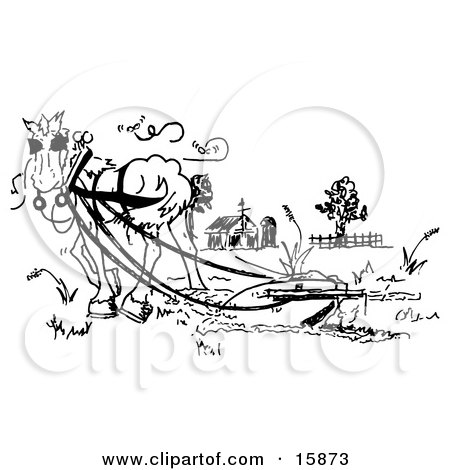 Black And White Drawing Of A Horse Pulling A Plow In A Pasture Clipart Illustration by Andy Nortnik