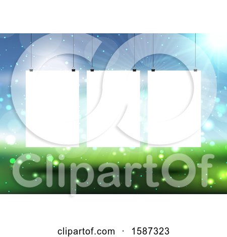 Clipart of Hanging Blank Pictures on a Defocussed Landscape Background - Royalty Free Vector Illustration by KJ Pargeter