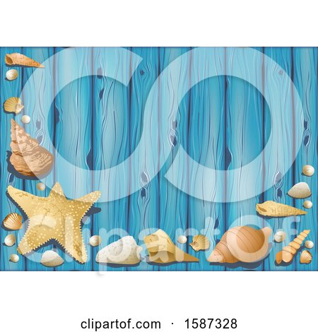 Clipart of a Blue Wood and Sea Shell Background - Royalty Free Vector Illustration by dero