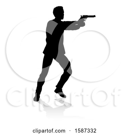 Clipart of a Silhouetted Actor or Shooter, with a Reflection or Shadow, on a White Background - Royalty Free Vector Illustration by AtStockIllustration