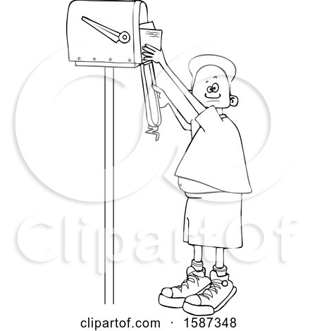 Clipart of a Lineart Black Boy Checking Mail from a Tall Mailbox - Royalty Free Vector Illustration by djart