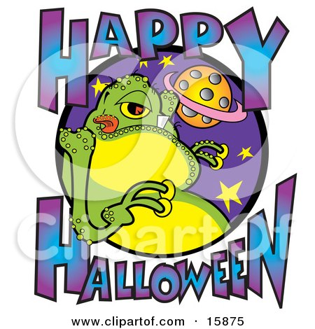 Green Fat Alien Licking His Lips With Text Reading Happy Halloween Clipart Illustration by Andy Nortnik