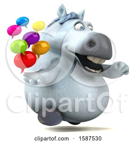 Clipart of a 3d Chubby White Horse Holding Messages, on a White Background - Royalty Free Illustration by Julos