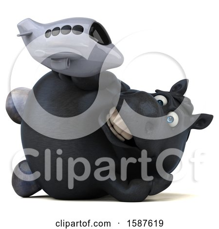 Clipart of a 3d Chubby Black Horse Holding a Plane, on a White Background - Royalty Free Illustration by Julos