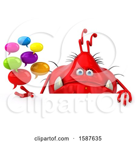 Clipart of a 3d Red Germ Monster Holding Messages, on a White Background - Royalty Free Illustration by Julos