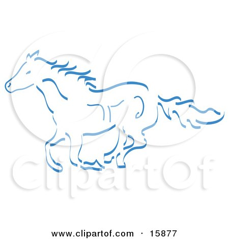Running Wild Horse In Blue Clipart Illustration by Andy Nortnik