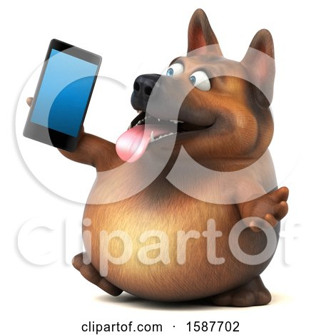 Clipart of a 3d German Shepherd Dog Holding a Smart Phone, on a White Background - Royalty Free Illustration by Julos