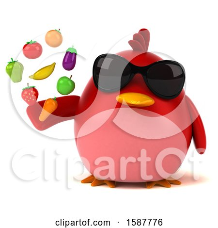 Clipart of a 3d Red Bird Holding Produce, on a White Background - Royalty Free Illustration by Julos