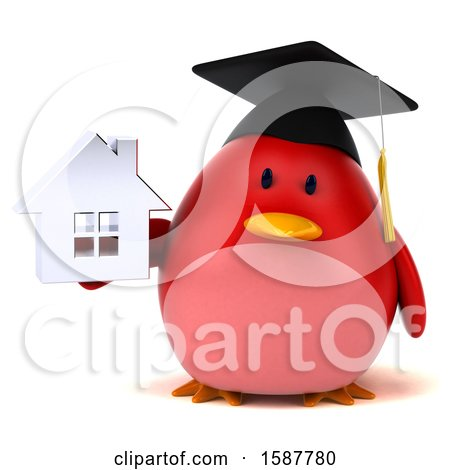 Clipart of a 3d Red Bird Graduate Holding a House, on a White Background - Royalty Free Illustration by Julos