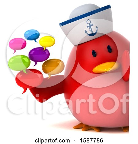 Clipart of a 3d Chubby Red Bird Sailor Holding Messages, on a White Background - Royalty Free Illustration by Julos