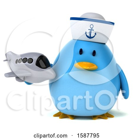 Clipart of a 3d Chubby Blue Bird Sailor Holding a Plane, on a White Background - Royalty Free Illustration by Julos