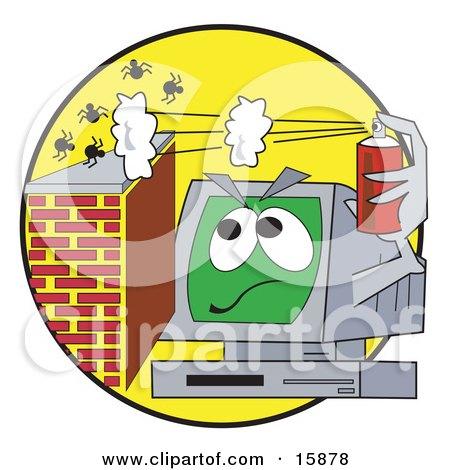 Desktop Computer Spraying Virus Bugs Away Clipart Illustration by Andy Nortnik