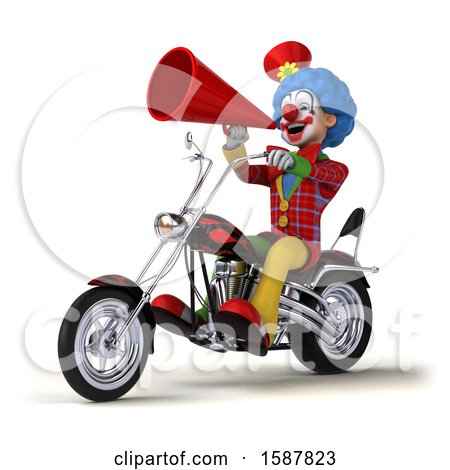 Clipart of a 3d Colorful Clown Riding a Chopper Motorcycle, on a White Background - Royalty Free Illustration by Julos