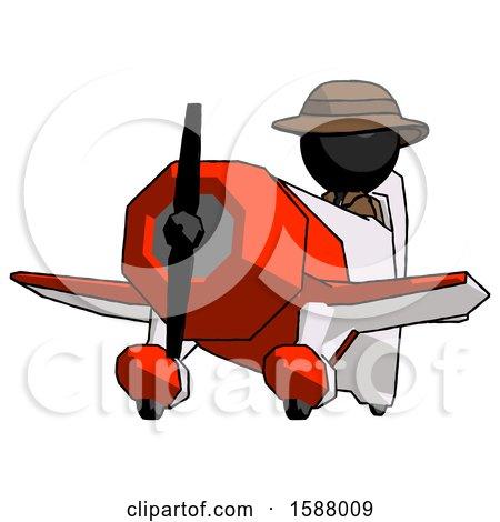 Black Detective Man Flying in Geebee Stunt Plane Viewed from Below by Leo Blanchette