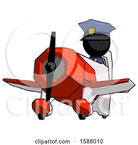 Black Police Man Flying in Geebee Stunt Plane Viewed from Below by Leo Blanchette