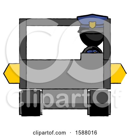 Black Police Man Driving Amphibious Tracked Vehicle Front View by Leo Blanchette