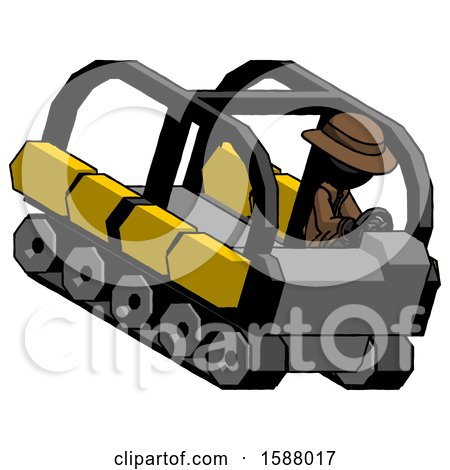 Black Detective Man Driving Amphibious Tracked Vehicle Top Angle View by Leo Blanchette