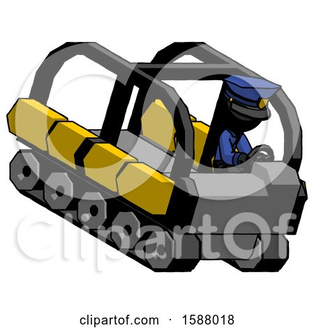 Black Police Man Driving Amphibious Tracked Vehicle Top Angle View by Leo Blanchette