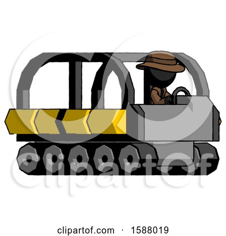 Black Detective Man Driving Amphibious Tracked Vehicle Side Angle View by Leo Blanchette