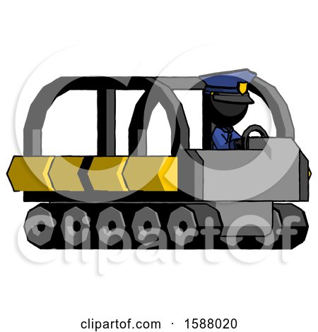 Black Police Man Driving Amphibious Tracked Vehicle Side Angle View by Leo Blanchette