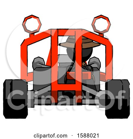 Black Detective Man Riding Sports Buggy Front View by Leo Blanchette
