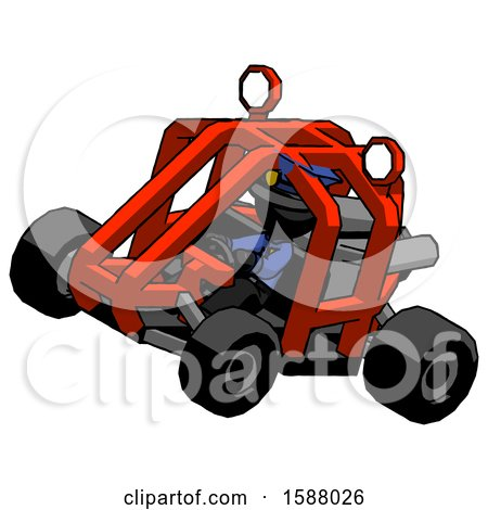 Black Police Man Riding Sports Buggy Side Top Angle View by Leo Blanchette