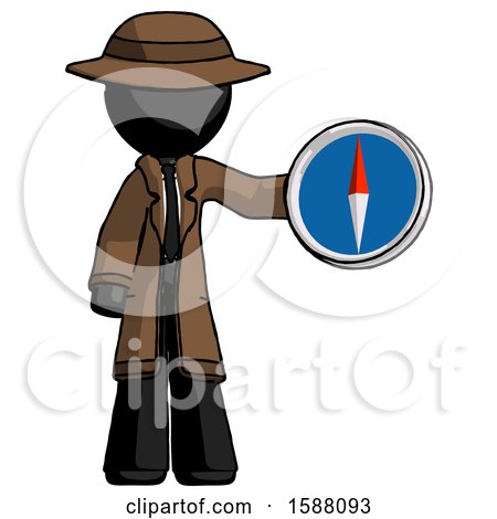 Black Detective Man Holding a Large Compass by Leo Blanchette