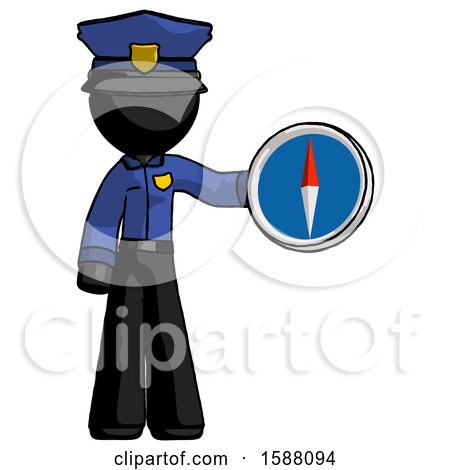 Black Police Man Holding a Large Compass by Leo Blanchette