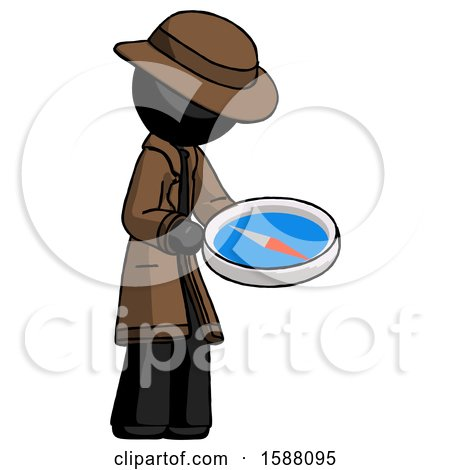Black Detective Man Looking at Large Compass Facing Right by Leo Blanchette