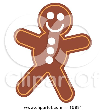 Gingerbread Man With A Smiley Face Clipart Illustration by Andy Nortnik