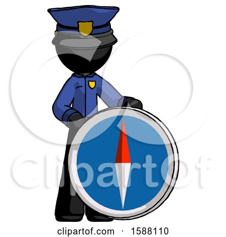 Black Police Man Standing Beside Large Compass by Leo Blanchette