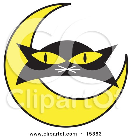 Black Cat's Face With A Yellow Crescent Moon Clipart Illustration by Andy Nortnik